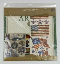 K & Company Army Scrap Kit Patriotic Scrapbook Paper and Stickers American Flag