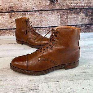 Crockett & Jones Coniston Cognac Pebble Grain Leather Cap Toe Boots 12 D Polo