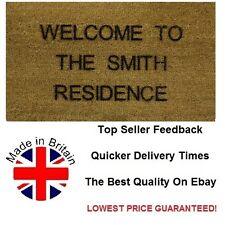 Personalised LASER ENGRAVED Coir Door / Floor Mat 40cm x 70cm Internal Coir