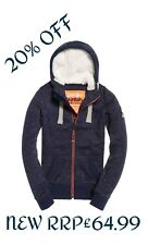 NEW RRP£64.99 LARGE SIZE WOMENS SUPERDRY STORM ZIP WINTER HOODIE NAVY BLIZZARD
