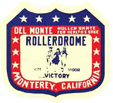 Monterey, California  Skating Rink  Vintage-Looking  Sticker-Decal-Luggage Label
