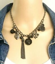 Gunmetal Black Beaded Dangle Cluster Charm Necklace