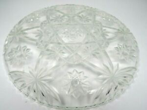 "Vintage Handmade White Color Glass Cut Floral  Plate .  13 "" x 13.5 """