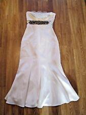 Karen Millen Ivory Embellished Waist Strapless Fishtail Midi Dress UK10/EU38