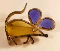 Vintage Silvertone Colored Glass Mouse Pin Rat Brooch