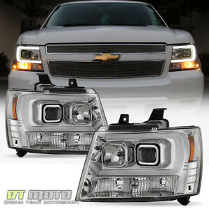 2007-2014 Chevy Suburban Tahoe Avalanche [LED Tube DRL] Projector Headlights Set