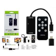 1080P HD MHL Micro USB to HDMI HDTV Adapter +Remote Control for Samsung HTC Sony