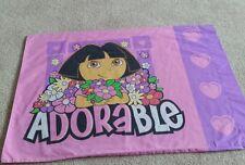 DORA the Explorer Boots Adorable Cartoon Pillow Case Fabric rare pink hearts