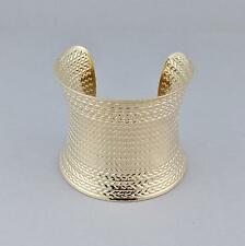 "Gold cuff bracelet stamped hammered pattern metal bangle cuff 2 3/8"" wide shiny"