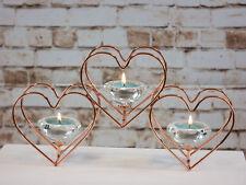 Rose Gold Triple Heart Tealight Holder Copper Xmas Gift Crystal Diamond Effect