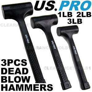 US PRO 3pc Rubber Dead Blow Hammers, Hammer 1lb 2lb 3lb Set 1664 Rubber Hammer