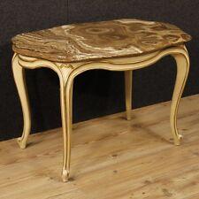 Tavolino da salotto mobile tavolo basso in legno stile antico piano marmo 900