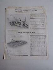 prospectus catalogue agricole : MAGNIER BEDU dechaumeuse charrue herses