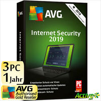 AVG Internet Security 3 PC 2019 Vollversion 1 Jahr DE Antivirus NEU DE 2018