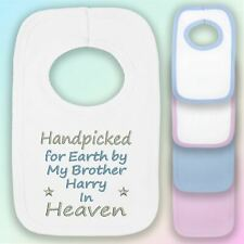 Handpicked for Earth Brother Embroidered Baby Pull-Over Bib Gift Personalised