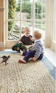 Origins Jute Borders Rug Hand Braided Natural Fibres With Blue Border 3 Sizes