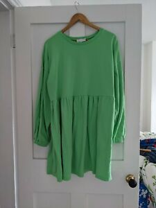 ASOS 14 16 Smock Sweat Dress Bright Green Oversized Super Soft and Comfy