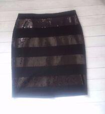 Halogen Black pencil skirt sequins striped party career size 8