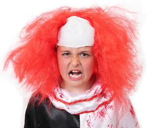 KIDS CLOWN WIG HORROR LATEX CAP RED HAIR HALLOWEEN FANCY DRESS COSTUME ACCESSORY