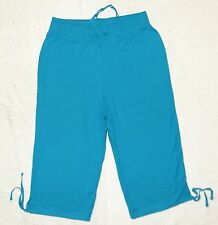 Plus JMS Just My Size French Terry Capri Pants 1X Bright Cerulean NEW