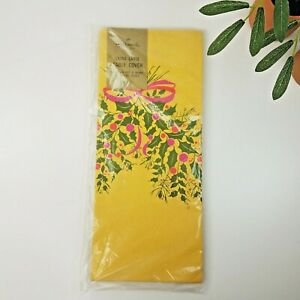 """Vintage Hallmark Mustard Yellow X Mas Holly Swag Paper Table Cover- 60 X 102"""""""