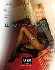 Luisa Maria Lugli Genny Micro Pantyhose W/Red Flowers Design Black Tights S