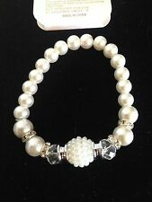 """Fashion Faux Pearl 7"""" Stretch Bracelet With Crystals & Silver Bead Spacers NWT"""
