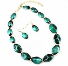 COWGIRL Metallic Brushed Teal Beads Necklace & Earring Set