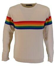 Mens Ecru Rainbow Repeat 70s Retro Jumper
