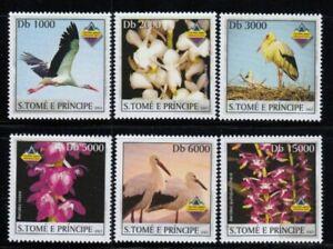 SÃO TOME & PRINCIPE Storks & Orchids MNH set