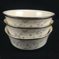Set of 3 Individual Salad Bowls Lenox Windsong Dimensions White Blue Floral USA