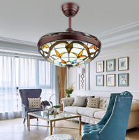 """42"""" Tiffany Ceiling Fan Light Acrylic Retractable Blades Remote Control LED Lamp"""