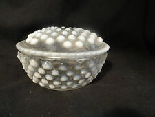 Opalescent Moonstone Depression Glass Powder Jar AS IS Hocking