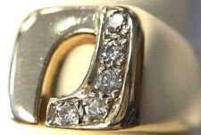 "14K Solid Yellow Gold Abstract ""J"" Diamond Ring (Size 6.5) 9.6 Grams"