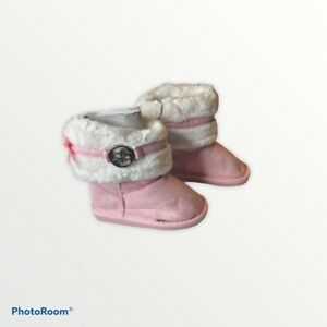 Bebe Toddler Girls Boots Faux Fur Trim Slip On Pink Size 7 NEW