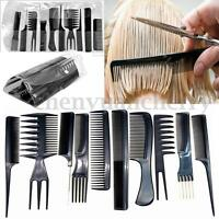 10X Black Beauty Salon Hair Styling Hairdressing Plastic Barbers Brush Combs Set