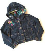OshKosh Genuine Kids Embroidered Jean Jacket Coat Hood Size 4T VGC Pink Flowers
