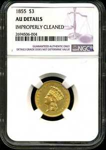 1855 $3 Gold Indian Princess Head AU Detail Cleaned NGC 2694506-004
