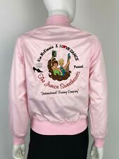 West Ark USA New Youth Large Pink Satin Bomber Jacket Embroidered Runway Auth