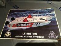 LE BRETON OFF-SHORE stereo adesivo vintage stickers casco auto anni 80