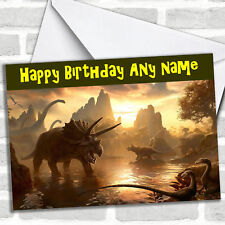 Dinosaurs At Sunset Personalised Childrens Birthday Card