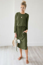 UK Womens Autumn Long Sleeve Casual Jumper Ladies Bandage Sweater Midi Dress New