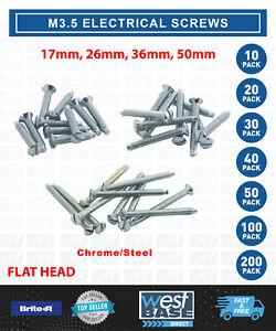 M3.5 ELECTRICAL SOCKET SWITCH SCREWS 17mm -75mm CHROME STEEL FLAT RAISED EDGE
