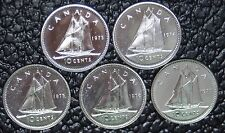 CANADIAN GEM 10 CENT DIMES - LOT OF 5 - 1973-1977 - Pulled from PL Sets - NCC