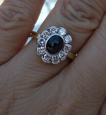 .80ct G/Si1-Si2 Diamond Blue sapphire hallow cluster floral flower ring 14k YG