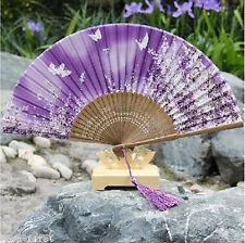 Chinese Bamboo Folding Silk Flower Pattern Hand Fan Wedding Party Gift Purple