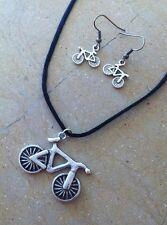Conjunto Pendientes Y Colgante  Bicicleta   Deporté Ciclismo Triatlón Hipster