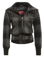 Womens Wool Jacket Ladies Coat Size 8 10 12 14 Black Grey Check New