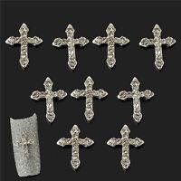 Fashion 3D Crystal Cross Alloy Rhinestone Nail Art Slices DIY Decorations 10PCS
