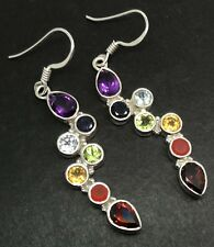 Chakra multistone drop earrings, solid Sterling Silver, new, actual ones 🇬🇧